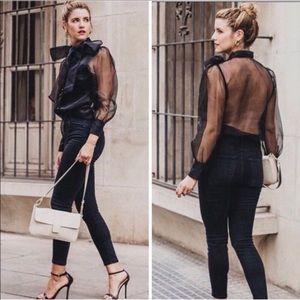 NWT ZARA Black Organza blouse SZ S